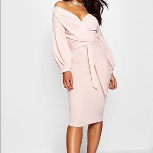 **BNWT** Off The Shoulder Wrap Midi Bodycon Dress